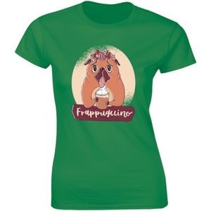 Frappugling Flowered Cute Pug Dog T-shirt Tees